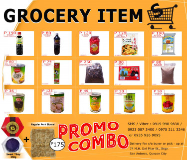 GROCERY ITEMS ON SALE! Order via SMS / Viber: 09230873400 or 09752113246 or...