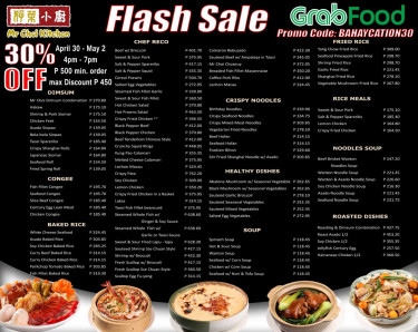 Mr. Choi 30% OFF Flash Sale - happening on April 30 - May 2, at 4 pm - 7 pm...